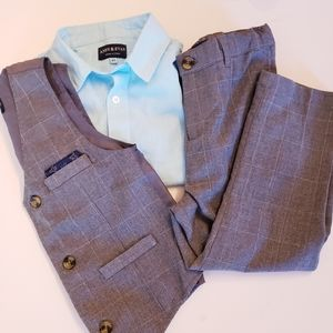 Andy & Evan 3 Piece Gray Suit Teal Boys 4T Airplan